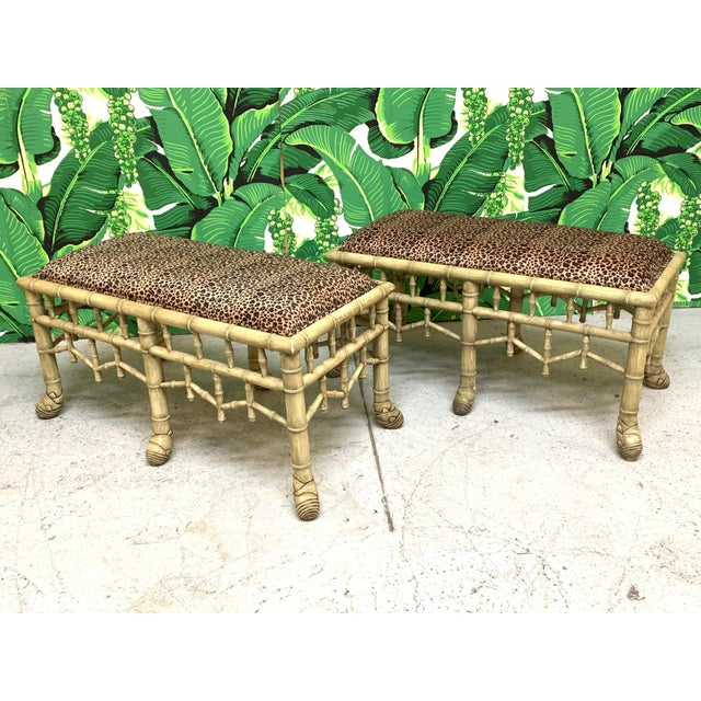 Faux Bamboo Pavilion Style Bench, a Pair For Sale - Image 9 of 9