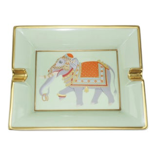 Hermès Porcelain Ashtray With Festooned Elephant For Sale