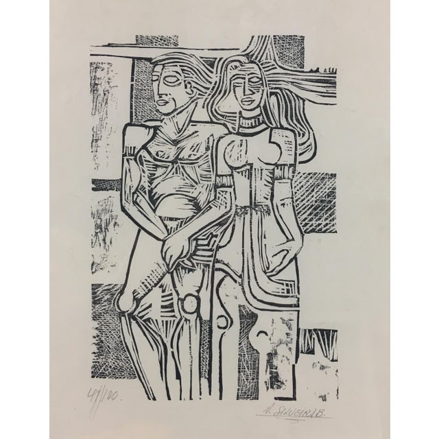 This is a South American etching on paper of a primitive people, Circa 20th century; artist signed, matted and framed,...