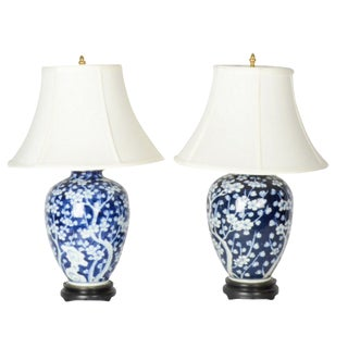 Blue and White Chinoiserie Lamps - a Pair