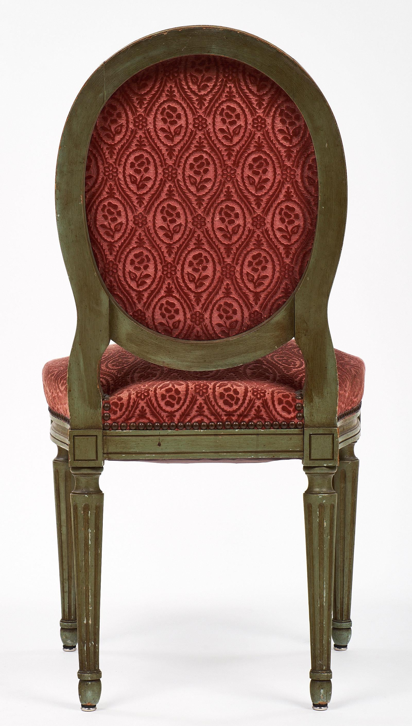 Pair Of French Antique Louis XVI Style Medallion Back Chairs   Image 8 Of 9