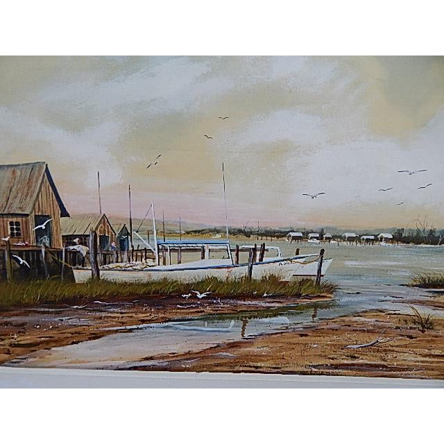 Seascape Fishing Village by Brundage For Sale - Image 4 of 6