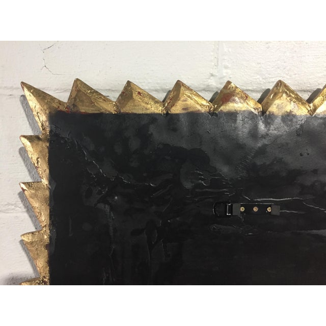 Giltwood 1970s Italian Large Giltwood Sunburst Mirror For Sale - Image 7 of 9