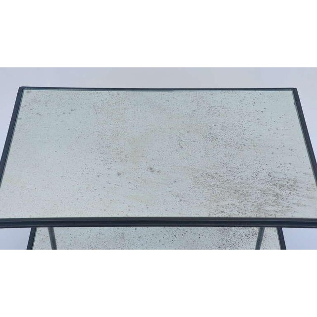 Glass Contemporary Design Frères 'Rectiligne' Wrought Iron and Mirror End Tables - a Pair For Sale - Image 7 of 11