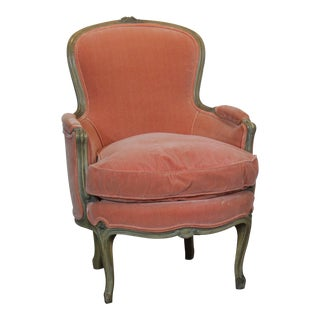 Louis XV Style Peach Velvet Chair For Sale