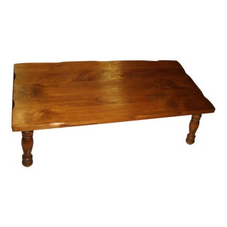 Vintage Classic Rectangular Long Low Knotty Wood Coffee Table with Fluted Edges For Sale