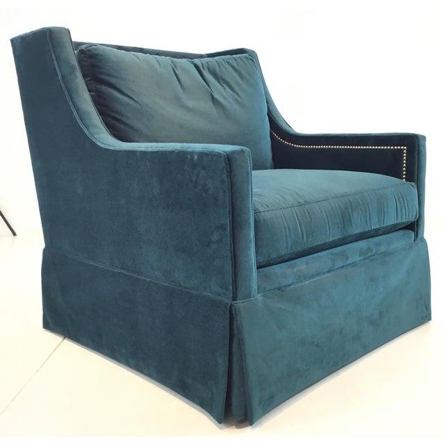 Gabby Helena Blue Velvet Modern Swivel Club Chair For Sale In Atlanta - Image 6 of 6