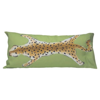 Dana Gibson Green Motif Leopard Pillow