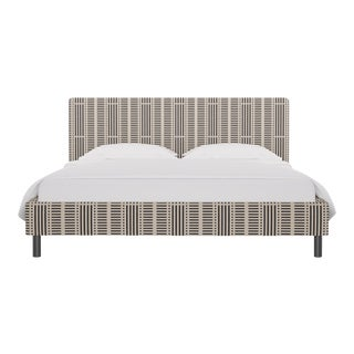 California King Tailored Platform Bed in Ink Blocks For Sale