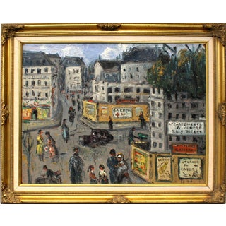 Early to Mid 20th Century Paris Street Scene Oil Painting For Sale