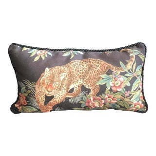 Cheetah / Wildlife Woven Rectangular Lumbar Pillow For Sale