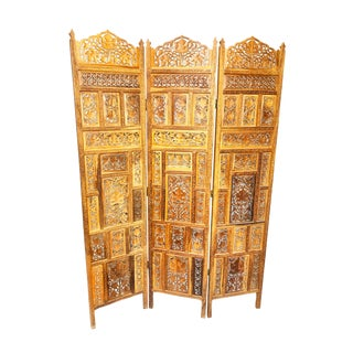 Indian Hand Carved Three Panel Wooden Screen For Sale
