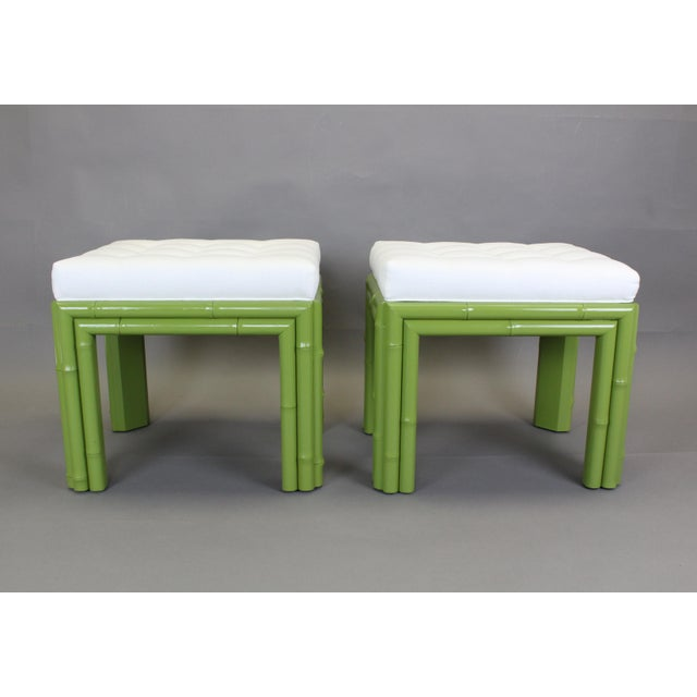Pair of Faux Bamboo Green Benchches - Image 4 of 11