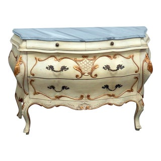 20th Century Florentine Louis XVI Style Marble Top Commode For Sale