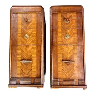 Art Deco Waterfall Nightstands - A Pair