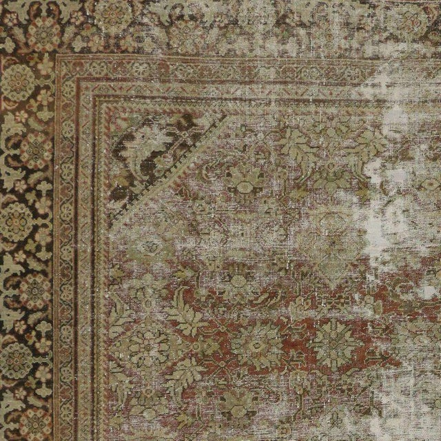 Distressed Antique Persian Mahal Rug with Modern Industrial Style For Sale - Image 5 of 8