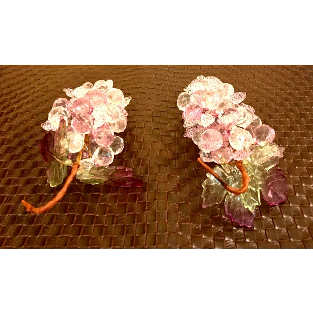 Mid 20th Century Pink & Clear Faceted Lucite Grapes - A Pair For Sale - Image 5 of 9
