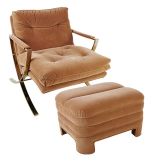 Large X Frame Lounge Chair and Ottoman by Bernhardt Brown Suede For Sale