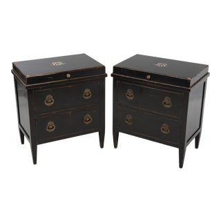 1990s Julia Gray Regency Nightstands or Commodes - a Pair For Sale