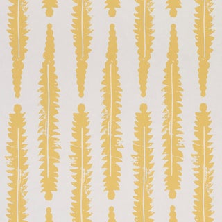 Schumacher x Molly Mahon Fern Wallpaper in Mustard For Sale
