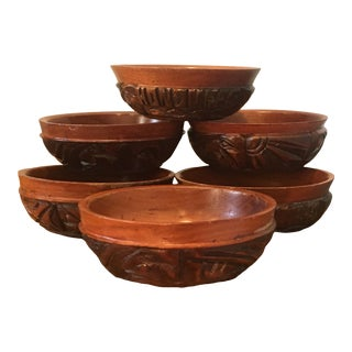 1980s Honduras Artisan Hand-Carved Mahogany Bowls - Set of 6 For Sale