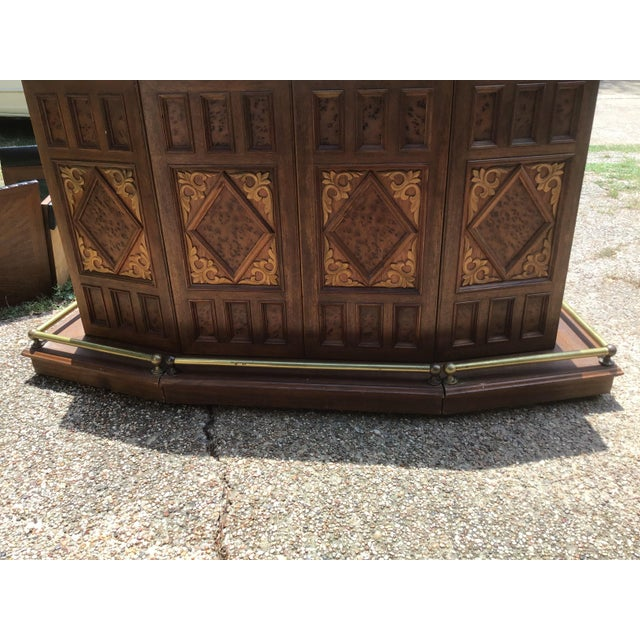 This beautiful vintage carved server Chinese oriental style folding expandable bar cabinet is in great condition. It has...