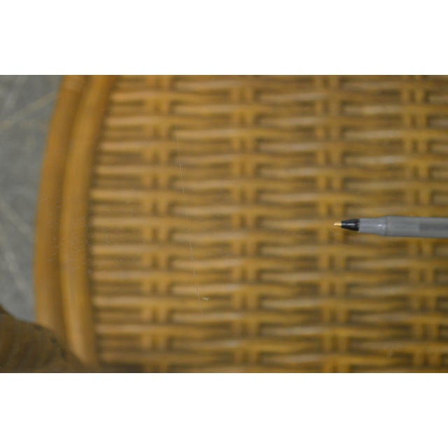 Crate & Barrel Glass Top Rattan Side Table For Sale - Image 12 of 13