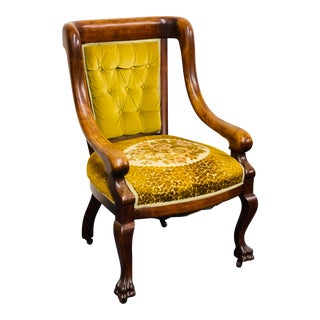 Antique Victorian English Edwardian Lion's Paw Mahogany Arm Chair For Sale