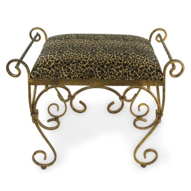 Vintage Vanity Stool Cast Iron For Sale - Image 4 of 5