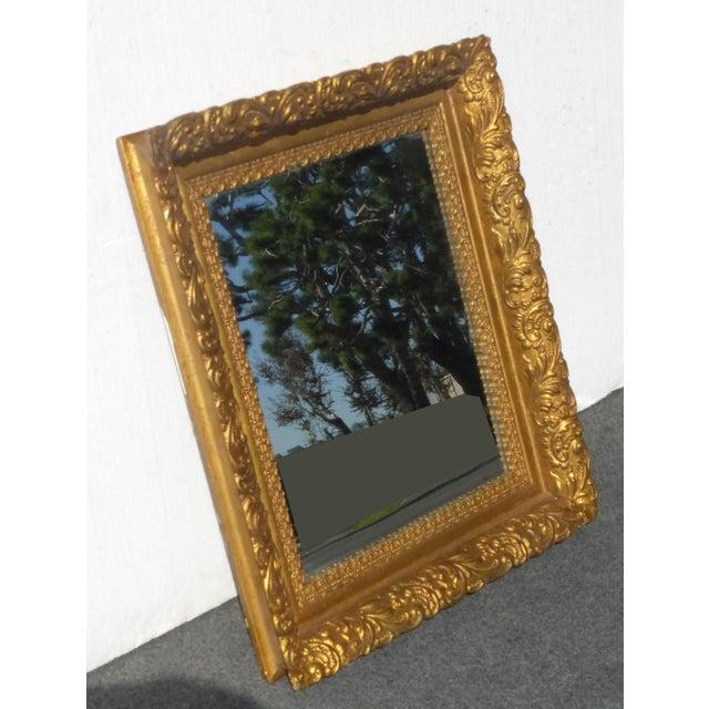 Art Nouveau Vintage Antique Wall Mantle Mirror Decorative Gold Gilt Ornate Square Frame For Sale - Image 3 of 10