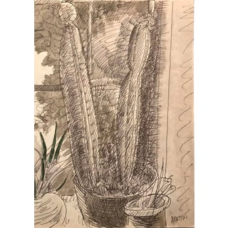 2001 James Bone Cactus and Houseplant Still Life Drawing For Sale