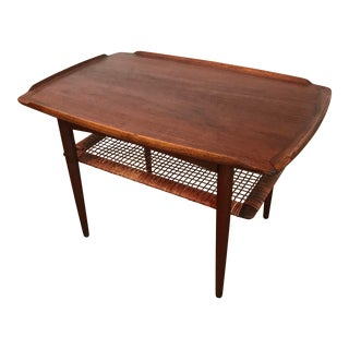 Danish Modern Poul Jensen Teak and Cain Side Table