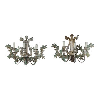 Italian Carved Painted Lyre Shaped Three-Light Sconces, Pair For Sale