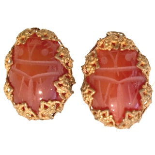 Mid-Century Mirian Haskell Russian Gold Carved Glass Scarab Earrings-Signed For Sale
