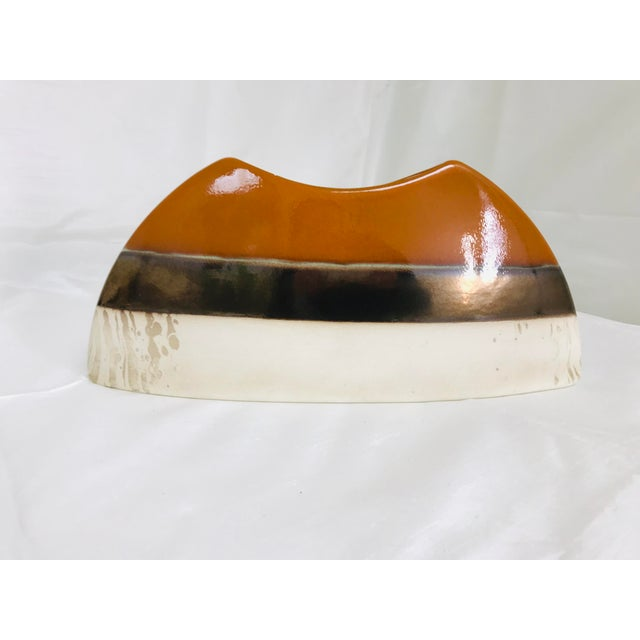 Contemporary Contemporary Oblong Decorative Centerpiece Glazed Pottery Vase For Sale - Image 3 of 8