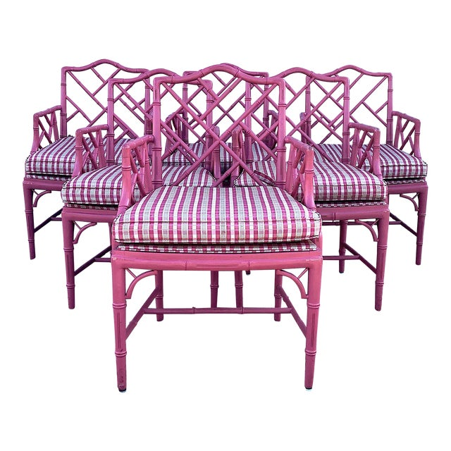 Hot Pink Faux Bamboo Chinese Chippendale Armchairs - Set of 6 For Sale