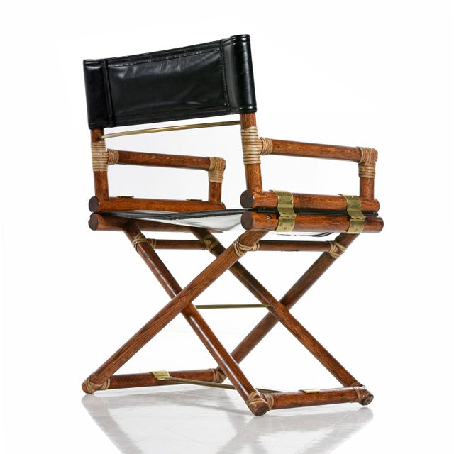 Mid-Century Modern McGuire Director Chair X-Chair, Vintage Black Leather, Oak and Brass For Sale - Image 3 of 9