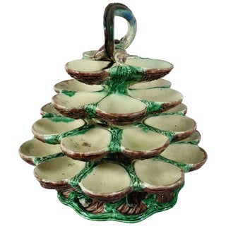 19th Century Majolica School of Paris Palissy Oyster Server For Sale