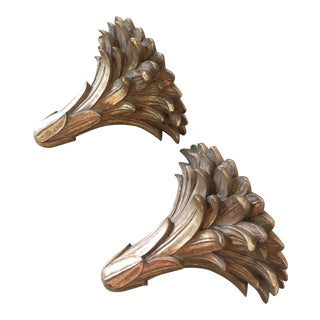 Art Deco Gold Leafed Wood Acanthus Wall Brackets - a Pair For Sale