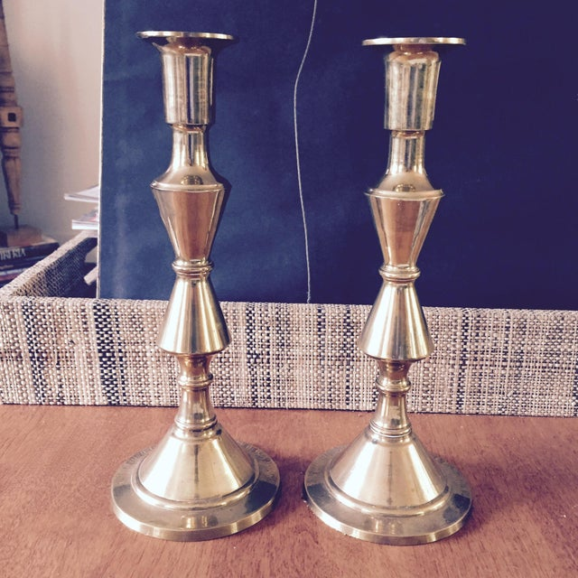 Brass Candlesticks Vintage - Pair - Image 2 of 3