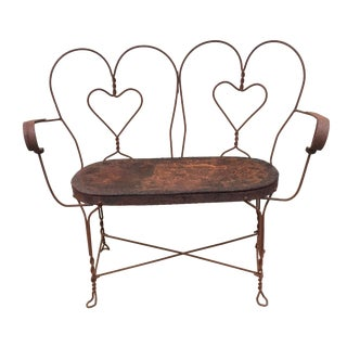 Vintage Twisted Wrought Iron Double Heart Bench