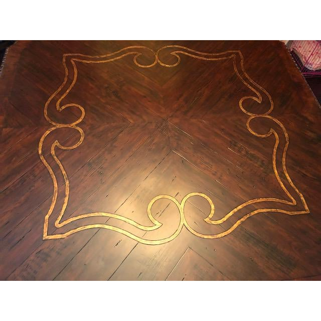 Traditional Gold Embossed Dining Table and Chairs For Sale - Image 3 of 10