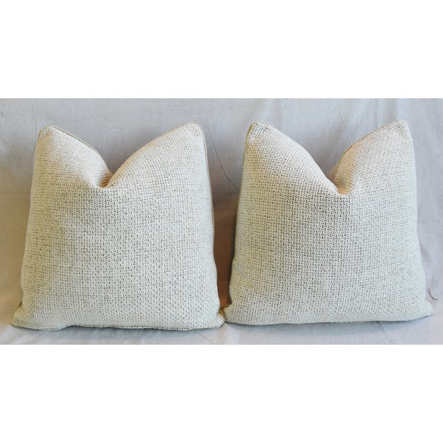 """Creamy Italian Tanned Leather Feather/Down Pillows 21"""" Square - Pair For Sale - Image 9 of 13"""
