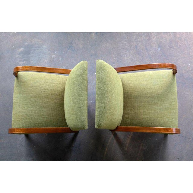 Beech Early Midcentury Danish Art Deco Low Lounge Chairs- A Pair For Sale - Image 7 of 12