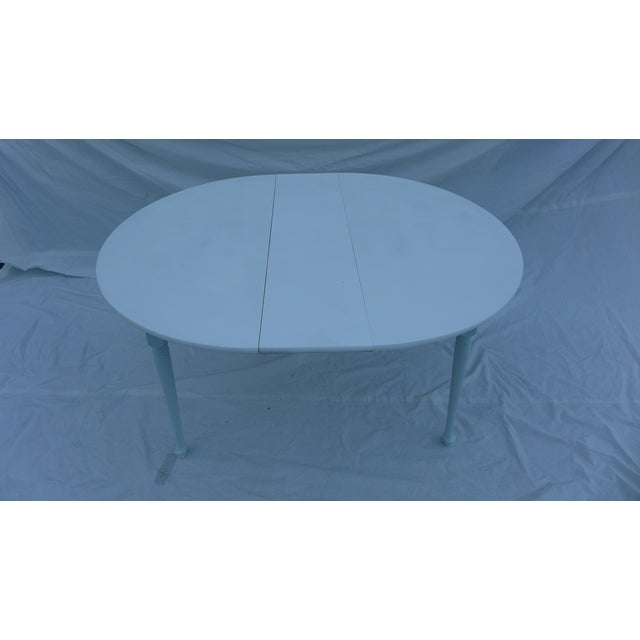 Heywood-Wakefield Heywood-Wakefield Two-Tone Blue & White Table For Sale - Image 4 of 7