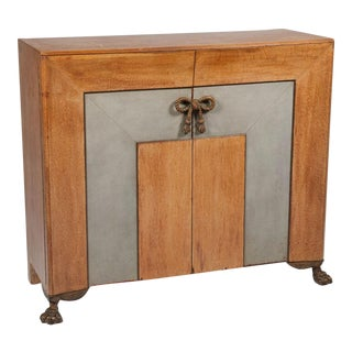 Leather, Oak & Bronze Sideboard after Andre Arbus For Sale