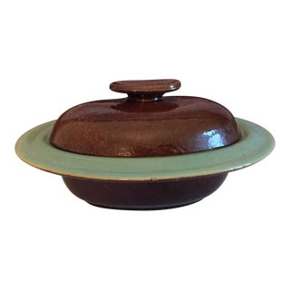 1940s Vintage Brown & Green Stoneware Pottery Covered Bowl For Sale