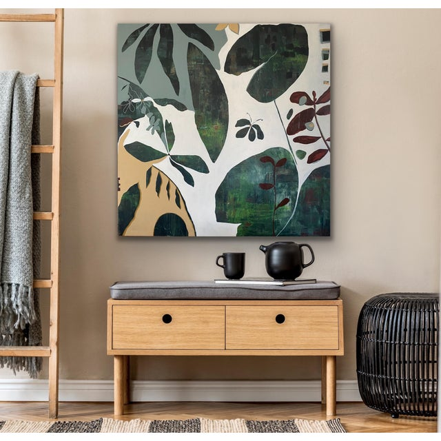 This large scale square painting titled Garden Party is acrylic on canvas and can be hung in any direction.