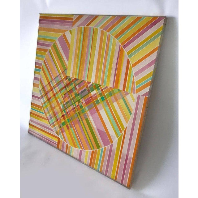 Green Mid-Century Modern Hard Edge Optical Art Painting, Signed, Circa 1960s For Sale - Image 8 of 13