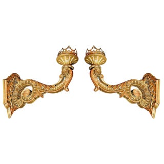 Pair of Grand Hand-Carved, Gilt Wood Sconces For Sale